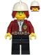 Minifig No: cty1211  Name: Fire Chief, Female - Freya McCloud, Dark Red Jacket, Black Legs, White Fire Helmet, Dark Red Hair