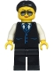 Minifig No: cty1212  Name: Limousine Driver - Female, Black Vest with Blue Striped Tie, Black Legs, Black Hair, Sunglasses