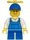 Minifig No: cty1214  Name: Boy - Blue Overalls over V-Neck Shirt, Blue Short Legs, Blue Cap with Tiny Yellow Propeller