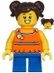 Minifig No: cty1215  Name: Girl - Orange Halter Top Dress, Blue Short Legs, Dark Brown Hair