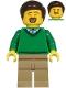 Minifig No: cty1217  Name: Dad - Green V-Neck Sweater, Dark Tan Legs, Dark Brown Hair
