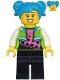 Minifig No: cty1219  Name: Poppy Starr - Lime Jacket, Black Legs, Dark Azure Hair