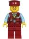Minifig No: cty1220  Name: Tram Driver - Male, Dark Red Vest, Bright Light Blue Shirt, Dark Red Legs, Dark Red Hat