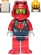 Minifig No: cty1225  Name: Scuba Diver - Male, Open Mouth, Black Beard, Red Helmet, White Airtanks, Red Flippers