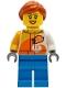 Minifig No: cty1228  Name: Female - Jacket with 'ViTA RUSH' Logo, Dark Azure Legs, Dark Orange Hair