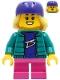 Minifig No: cty1230  Name: Skater - Girl, Dark Turquoise Jacket, Dark Pink Short Legs, Dark Purple Helmet, Bright Light Yellow Hair