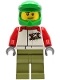 Minifig No: cty1231  Name: Wheelchair Athlete - Male, White Jacket with 'XTREME' Logo, Olive Green Legs, Bright Green Dirt Bike Helmet