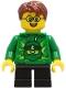 Minifig No: cty1233  Name: Boy - Green Ninjago Hoodie, Black Short Legs, Reddish Brown Hair