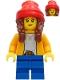 Minifig No: cty1235  Name: Girl - Bright Light Orange Jacket, Blue Medium Short Legs, Reddish Brown Hair with Braids, Red Beanie