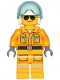 Minifig No: cty1237  Name: Fire - Reflective Stripes, Bright Light Orange Suit, White Helmet, Black and Silver Sunglasses