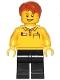 Minifig No: cty1239  Name: Lego Store Employee, Black Legs, Dark Orange Tousled Hair, Lopsided Grin