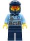 Minifig No: cty1243  Name: Police - City Officer Bright Light Blue Shirt with Silver Stripe, Badge and Radio, Dark Blue Legs, Dark Blue Dirt Bike Helmet, Orange Glasses