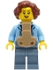 Minifig No: cty1245  Name: Woman - Bright Light Blue Hoodie over Dark Purple Star Shirt, Sand Blue Legs, Reddish Brown Hair, Baby Carrier