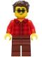 Minifig No: cty1246  Name: Man - Red Flannel Shirt, Reddish Brown Legs, Dark Brown Hair, Sunglasses