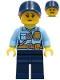 Minifig No: cty1258  Name: Police - City Officer Female, Bright Light Blue Shirt with Badge and Radio, Dark Blue Legs, Dark Blue Cap with Dark Orange Ponytail, Pensive Smile