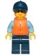 Minifig No: cty1263  Name: Police - City Officer Female, Bright Light Blue Shirt with Badge and Radio, Dark Blue Legs, Dark Blue Cap with Dark Orange Ponytail, Life Jacket