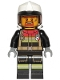 Minifig No: cty1264  Name: Fire - Reflective Stripes, Black Legs and Jacket with Dark Red Collar, Fire Helmet, Trans-Black Visor, Brown Goatee
