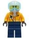Minifig No: cty1266  Name: Airshow Jet Pilot - Bright Light Orange Jacket, Dark Blue Legs, White Helmet, Oxygen Mask