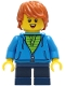 Minifig No: cty1271  Name: Boy - Dark Azure Hoodie with Green Striped Shirt, Dark Blue Short Legs, Dark Orange Hair, Freckles, Small Open Smile with Tongue