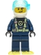 Minifig No: cty1277  Name: Police - City Officer Dark Blue Diving Suit with Yellowish Green Harness, White Helmet, White Airtanks, Bright Light Yellow Flippers