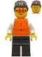 Minifig No: cty1278  Name: Police - Officer Gracie Goodhart, Dark Blue Vest, Orange Life Jacket