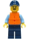 Minifig No: cty1279  Name: Police - City Officer Shirt with Dark Blue Tie and Gold Badge, Dark Tan Belt with Radio, Dark Blue Legs, Dark Blue Cap, Orange Life Jacket