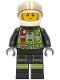 Minifig No: cty1280  Name: Fire Fighter - Clemmons, White Helmet, Trans-Black Visor