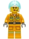 Minifig No: cty1282  Name: Fire - Reflective Stripes, Bright Light Orange Suit, White Helmet, Headset