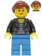 Minifig No: cty1283  Name: Car Driver - Female, Black Leather Jacket, Medium Blue Legs, Reddish Brown Hair