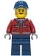 Minifig No: cty1284  Name: Truck Driver - Male, Dark Red Hooded Sweatshirt, Dark Blue Legs, Dark Blue Cap