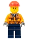 Minifig No: cty1286  Name: Construction Worker - Male, Chest Pocket Zippers, Belt over Dark Gray Hoodie, Dark Blue Legs, Red Construction Helmet