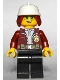 Minifig No: cty1288  Name: Fire Chief, Female - Freya McCloud, Dark Red Jacket, Black Legs, White Fire Helmet, Open Smile / Closed Mouth Pattern