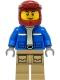 Minifig No: cty1295  Name: Wildlife Rescue Explorer - Male, Blue Jacket, Dark Red Helmet, Dark Tan Legs with Pockets, Thin Grin