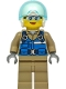 Minifig No: cty1296  Name: Wildlife Rescue Pilot - Female, Blue Vest, White Helmet, Dark Tan Legs