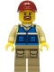 Minifig No: cty1298  Name: Wildlife Rescue Worker - Male, Dark Red Cap, Blue Vest with 'RESCUE' Pattern on Back, Dark Tan Legs with Pockets, Beard