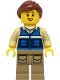 Minifig No: cty1300  Name: Wildlife Rescue Worker - Female, Blue Vest with 'RESCUE' Pattern on Back, Dark Tan Legs with Pockets, Reddish Brown Hair