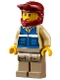 Minifig No: cty1301  Name: Wildlife Rescue Explorer - Male, Blue Vest with 'RESCUE' Pattern on Back, Dark Red Helmet, Dark Tan Legs with Pockets, Beard