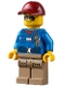 Minifig No: cty1303  Name: Wildlife Rescue Ranger - Male, Blue Shirt with 'RESCUE' Pattern on Back, Dark Red Cap, Dark Tan Legs with Pockets