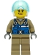 Minifig No: cty1307  Name: Wildlife Rescue Pilot - Female, Blue Vest, White Helmet, Dark Tan Legs, Smirk