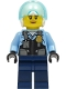 Minifig No: cty1311  Name: Police - City Helicopter Pilot Female, Safety Vest with Police Badge, Dark Blue Legs, White Helmet