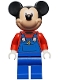 Minifig No: dis054  Name: Mickey Mouse - Blue Overalls and Red Top