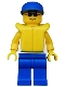 Minifig No: div005  Name: Divers - Boatie 1, Blue Cap, Life Jacket