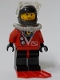 Minifig No: div015a  Name: Divers - Red diver 2, Black Legs with Red Hips, Black Helmet, Brown Bangs, Stubble, Red Flippers