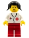 Minifig No: doc001a  Name: Doctor - Stethoscope, Red Legs, Black Pigtails Hair (Vintage)