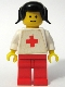 Minifig No: doc013s  Name: Doctor - Plain White with Red Cross Torso Sticker, Red Legs, Black Pigtails Hair