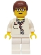 Minifig No: doc021  Name: Doctor - Lab Coat Stethoscope and Thermometer, White Legs, Reddish Brown Male Hair, Glasses