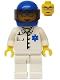 Minifig No: doc022  Name: Doctor - EMT Star of Life Button Shirt, White Legs, Blue Helmet, Trans-Black Visor