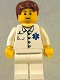 Minifig No: doc035  Name: Doctor - EMT Star of Life Button Shirt, White Legs, Dark Orange Short Tousled Hair