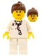 Minifig No: doc036  Name: Doctor - Lab Coat Stethoscope and Thermometer, White Legs, Reddish Brown Female Ponytail Hair, Dual Sided Head