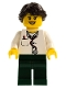Minifig No: doc037  Name: Doctor - Lab Coat Stethoscope and Thermometer, Dark Green Legs, Long French Braided Female Hair